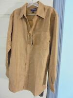 Oleg Cassini L Brown Gold Button Shirt 75% Silk Sze L With Tags $90 Save 60%
