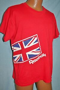 7dcec65091966 Details about Vintage 80s REEBOK Red Union Jack British Flag Logo 50/50  T-SHIRT L Vtg HIP HOP