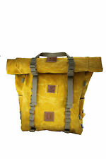35 L Waxed Canvas roll-top Backpack Yellow Rover waterproof interior liner