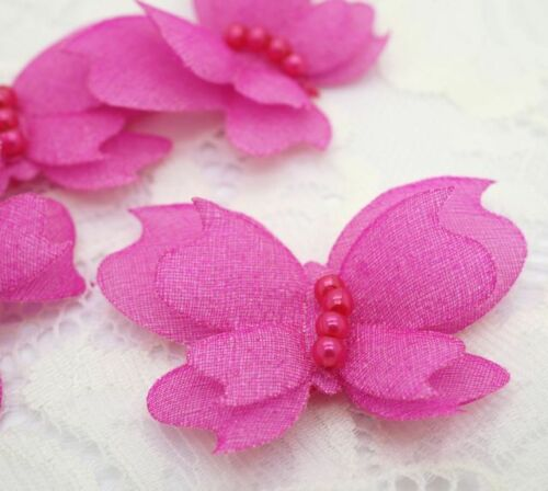 Padded Butterfly w// Pearls Craft//Appliques x 40 Hot Pink