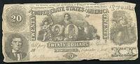 T-20 1861 $20 TWENTY DOLLARS CSA CONFEDERATE STATES OF AMERICA