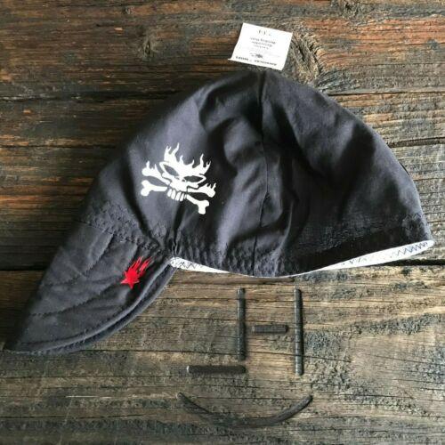 SKULL /& CROSSBONES *GLOW-N-DARK* Black Welding Hat Hats Cap Biker Hood Helmet