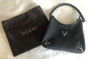 Gucci-Womens-Black-GG-Hobo-D-Ring-Canvas-Leather-Monogram-Handbag-268637