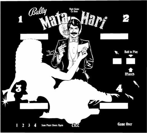 Bally MATA HARI Pinball Machine Translite BACKGLASS