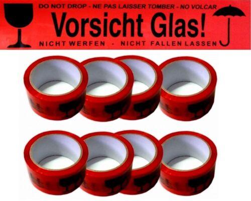 V48 36 x 66m ruoli cautela Vetro Rosso fragile Nastro Adesivo Pacchi Nastro pacchetto