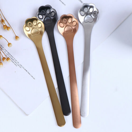 1Pc Stainless Steel Coffee Dessert Spoon Cat Paw Claw Spoon Stirring Spoo L/_DNV