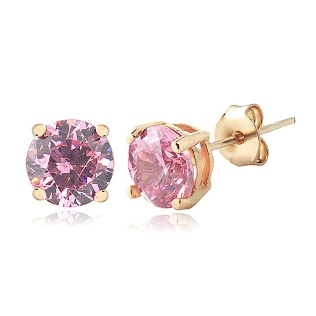 Rose Gold Tone Light Pink Cubic Zirconia 6mm Round Stud Earrings