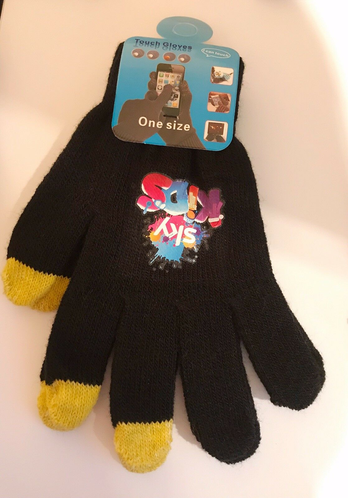 Black & Yellow Touch Screen Magic Gloves Sky Kids Unisex Winter Knitted Phone