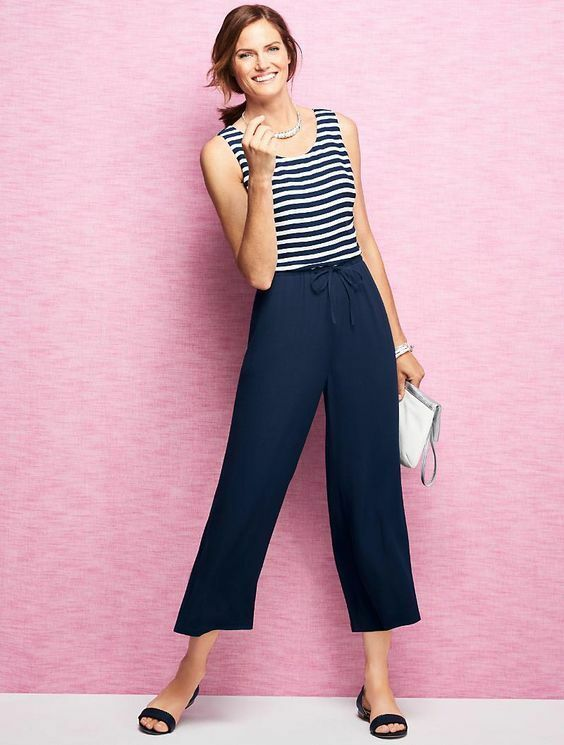 New Talbots bluee White Striped Jumpsuit Pants Dress Size 16