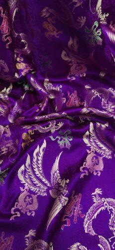 """Púrpura multicolor Dragón Chino Brocade Fabric 45/"""" Precio Por Metro"""