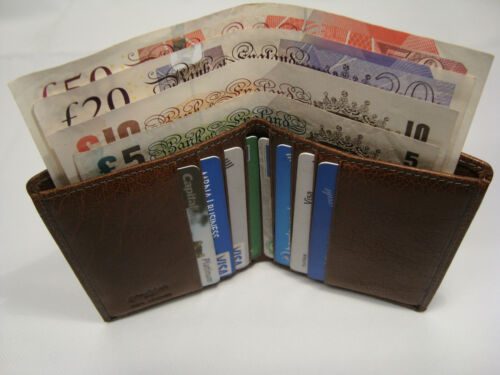 BOXED Top Quality Leather Credit Card Wallet with Paper Money Slot Graffiti