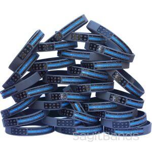 50 Enfant Taille Vintage Drapeau Mince Ligne Bleue Bracelets-police Support Bracelets-afficher Le Titre D'origine