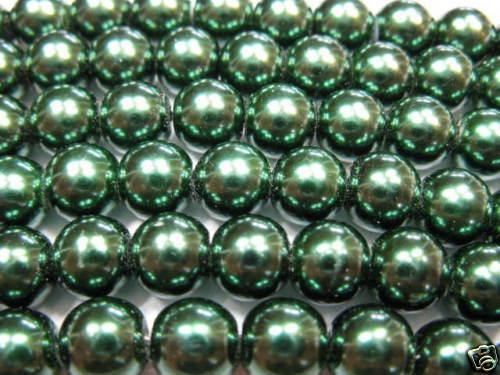 50 glaswachsperlen 8 MM OLIVE perles NEUF top 3400