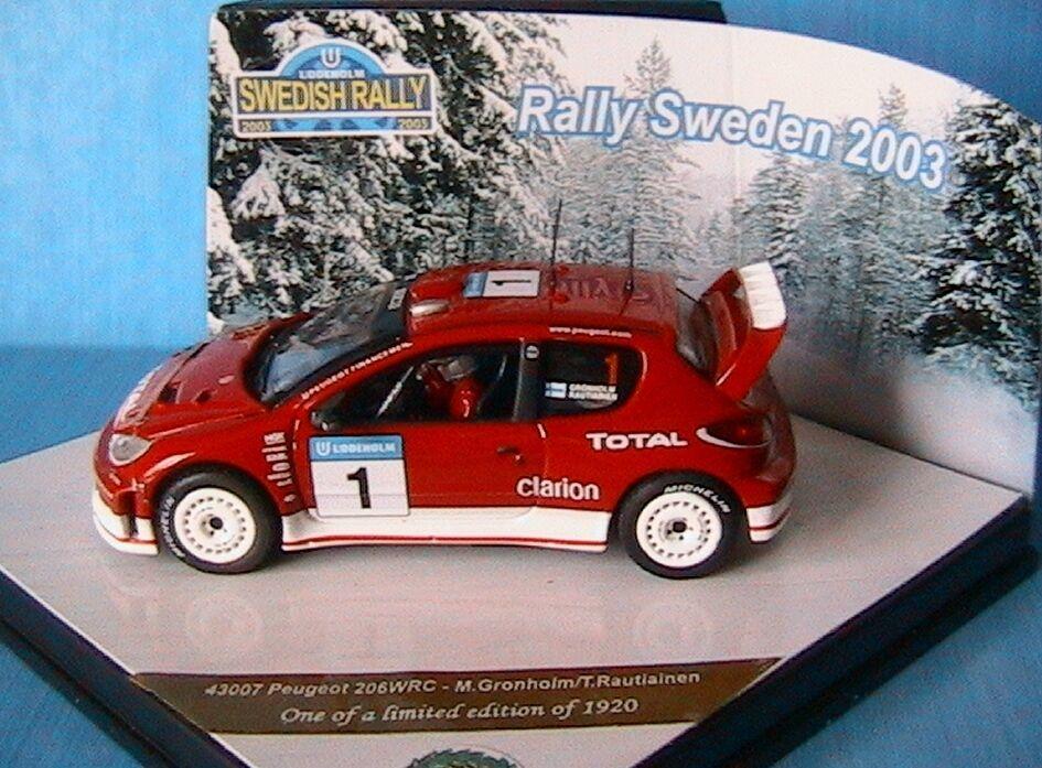 PEUGEOT 206 WRC GRONHOLM RAUTIAINEN win RALLY SWEDEN 2003 VITESSE 43007 1 43