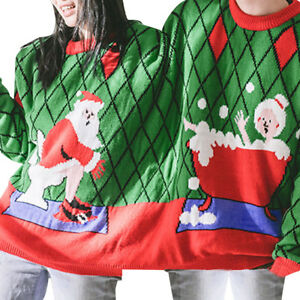Two-Person-Sweater-Unisex-Couples-Pullover-Novelty-Christmas-Blouse-Tops-Shirt-Y