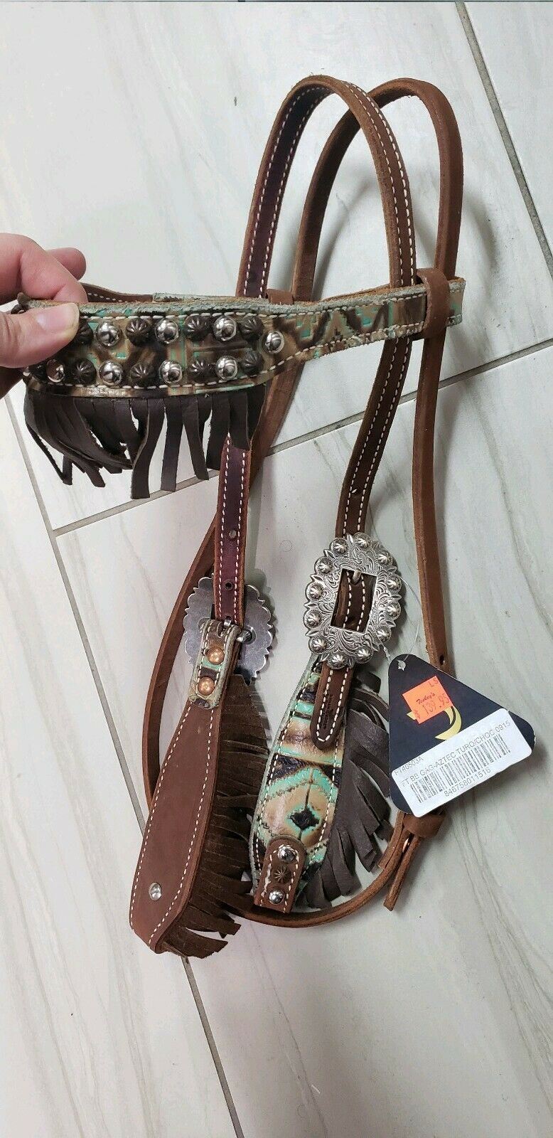 Ftuttion Taylor Dynamic Edge Headsttutti Leather Western Fringe cavallo Tack