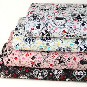 Japanese Kokka Oxford Cotton Fabric  Retro Alice 1//2 yard