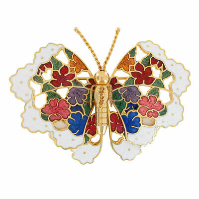 Multicolor Cloisonne White Butterfly Brooch Pin Floral Whimsical Vintage