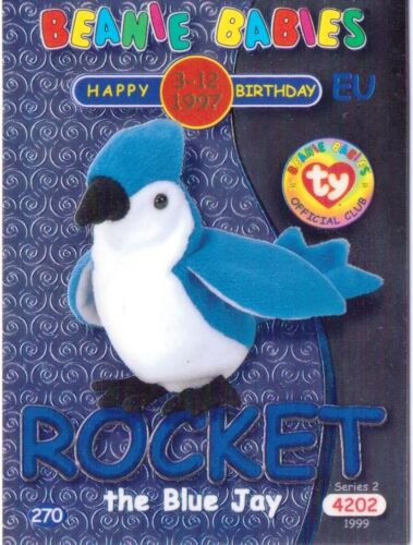 Ty S2 Beanie Card Birthday ROCKET THE JAY BLUE EUROPE  EUROPEAN VERSION