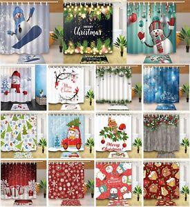 Waterproof-Fabric-amp-12-Hooks-Shower-Curtain-Bath-Mat-Christmas-Snowman-Xmas-Tree