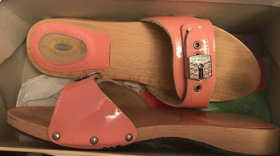Dr Scholls Wood Exercise Sandale Größe 7 Rare Pink Patent & Rhinestone