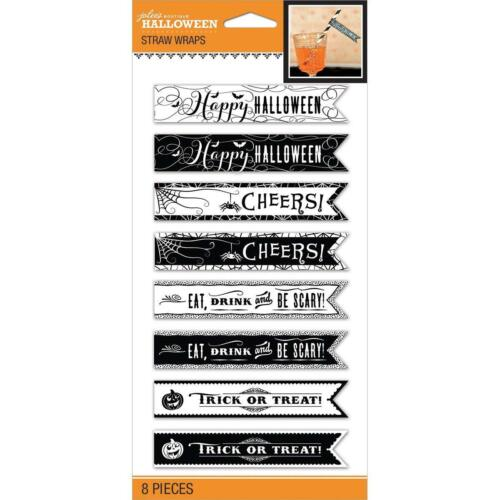 32 Pc//4 Paks HALLOWEEN BANNER Die Cuts HALLOWEEN Straw Wraps Card Die Cuts