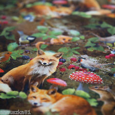 Jersey Stoff mit Füchse Fuchs Pilze - Mäuse - Maus Tiere Füchsen Kinderstoffe