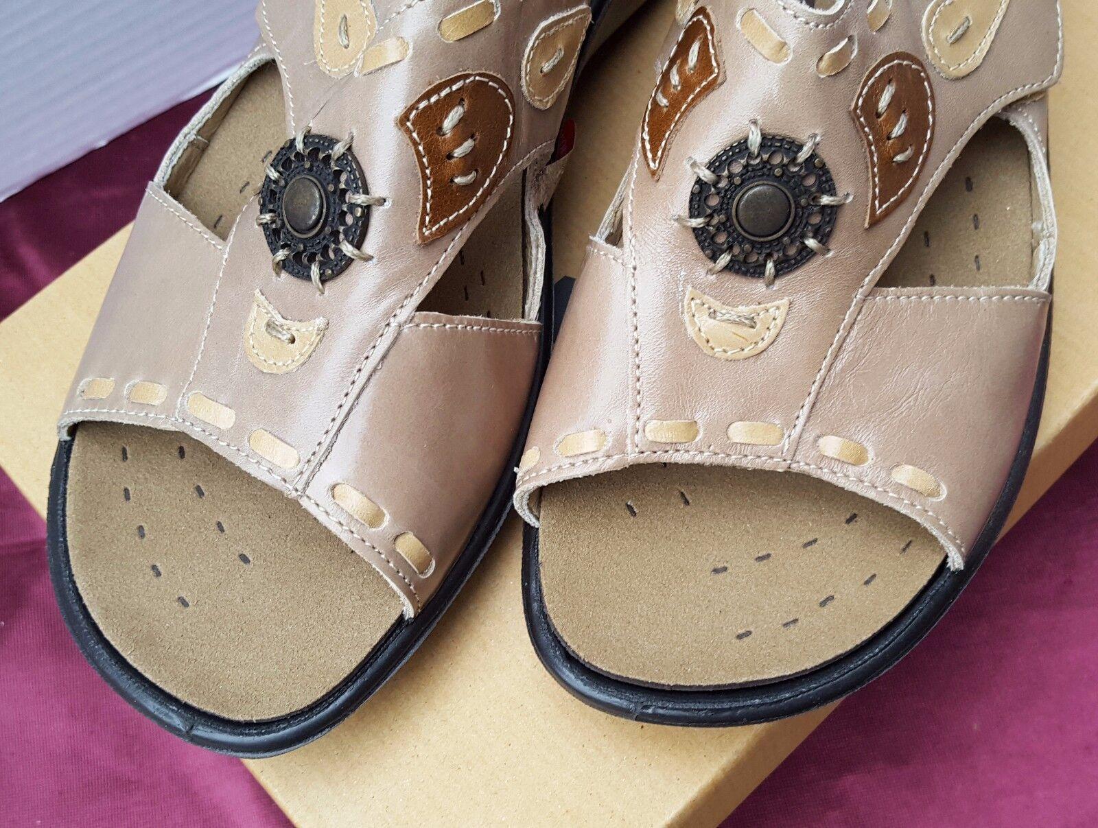 New Donna Romika Wellness Shock Pelle Sandals Adjustable Slip On Shock Wellness Soles 40 12ba38
