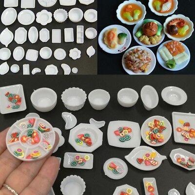 33 Pcs Dollhouse Miniature Tableware Plastic Plate Food Set Toys Dishes N2F9
