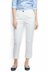 Womens Mid Rise Stretch Chino Cropped Trousers - 10 - WHITE Lands End 3fDC48