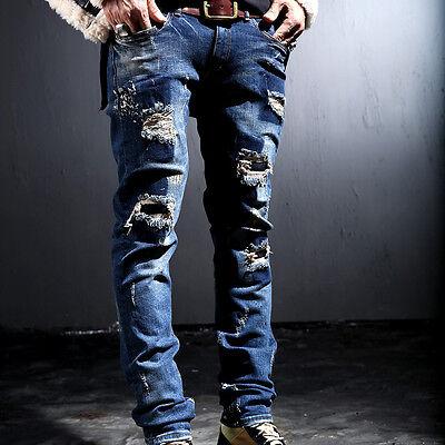BytheR Men's Korean Fashion Modern Casual Ripped Cotton Blue Jeans P000BGQH