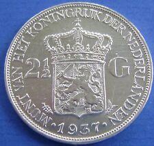Nederland - Netherlands 1937 rijksdaalder, 2 1/2 gulden Wilhelmina. Nice!