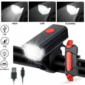 USB Recargable LED Linterna Bicicleta Cabeza Luz de Bicicleta Delantera Trasera Lámpara ciclismo