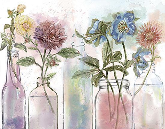 Nan  Vintage Bottle Collection Keilrahmen-Bild Leinwand Flaschen Blaumen bunt