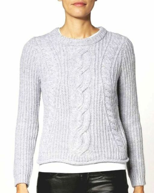 a11a9e125d  199 MICHAEL KORS WOMEN S WHITE GRAY CREW-NECK CROPPED CABLE-KNIT SWEATER  SIZE S