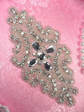 JB171 Designer Crystal Rhinestone Silver Beaded Applique 5""