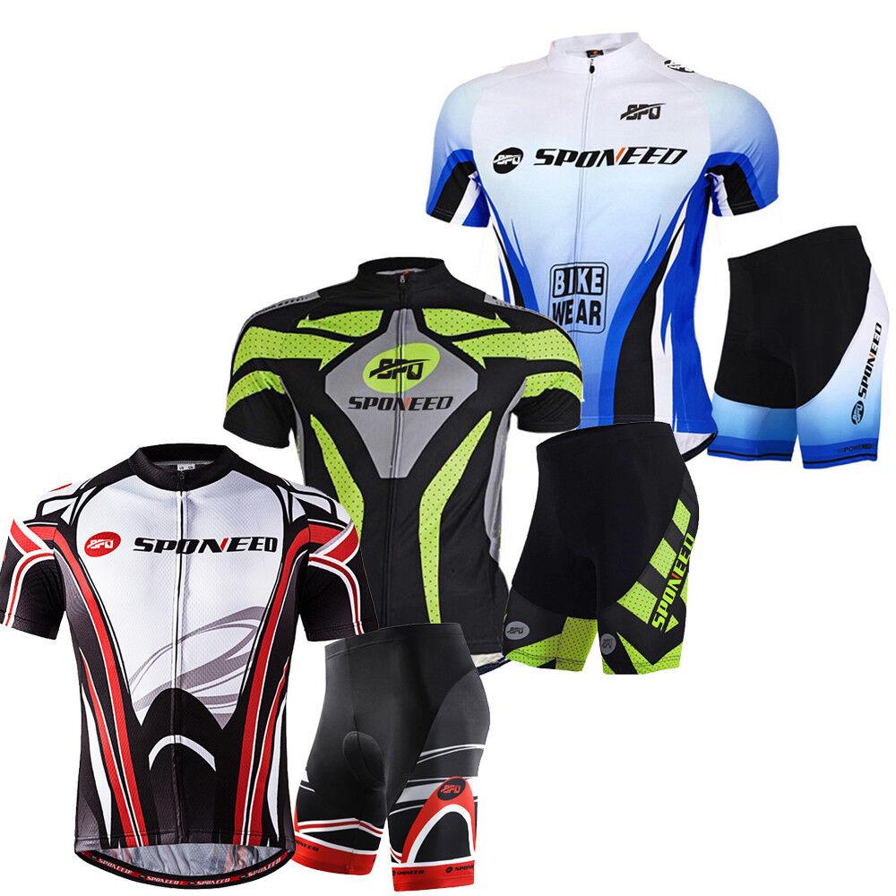 Mens Cycling Jersey Shorts Sets  Bike Riding Shirt Padded Tights Half Pants Kits  global distribution