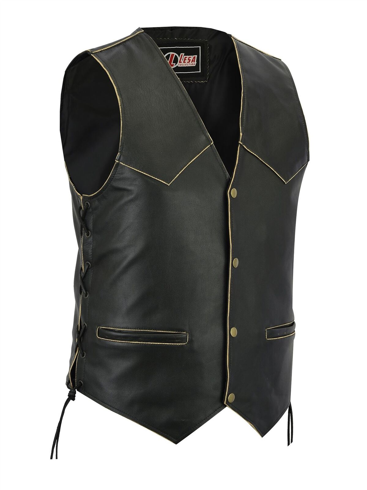 NEW Herren LEATHER MOTORCYCLE BIKER VEST ANTIQUE SIDE LACES CLASSIC STYLE