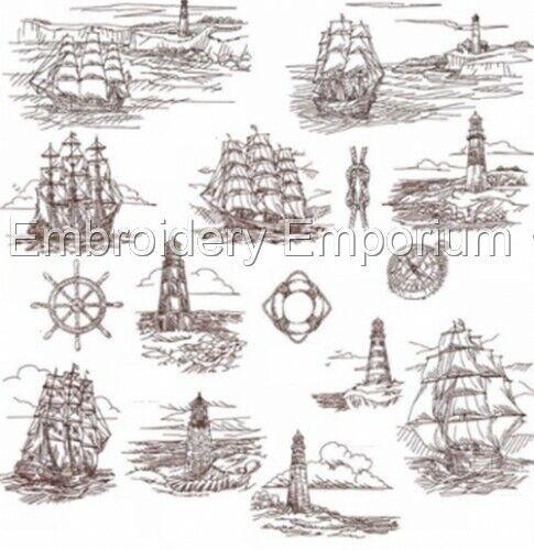 Colección Náutica bocetos-diseños de bordado de la máquina en CD o USB
