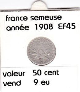 Bf 1 )pieces De 50 Cent France 1908 Apparence EsthéTique