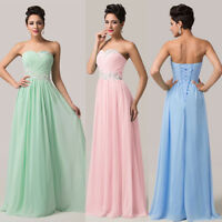 MAXI Long WEDDING Evening Formal Party Ball Gown Prom Bridesmaid Dress Size 6-20