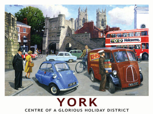 York Castle Walls 60/'s Retro Classic Cars Landscape Small Metal//Steel Wall Sign