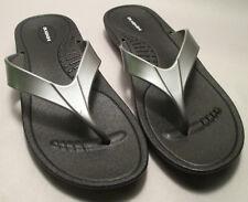 Okabashi Women/'s Marina Flip Flop Sandal 441242 Black//Silver Size L 9.5-10.5