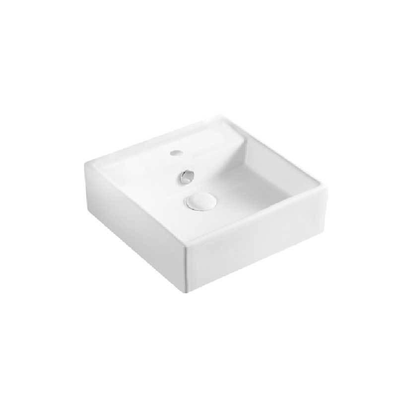 Lavabo d'appoggio o sospeso quadrato ceramica bianca 38x38 H.12,5 cm con troppo