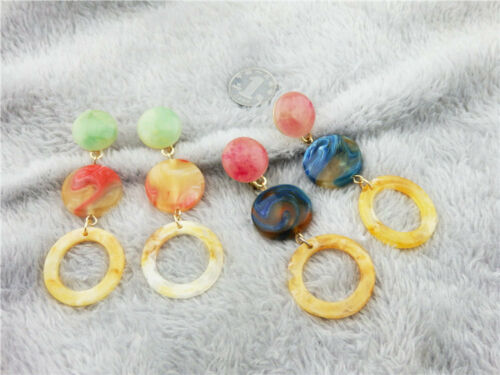 Boucles d`Oreilles Clip on Doré Gros Pendant Rose Vert Bonbon Cercle Leger J9