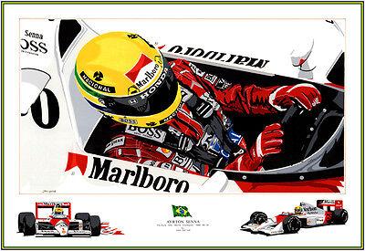 Ayrton Senna F1 by the renown  Auto Artist John Garrod Quality Print