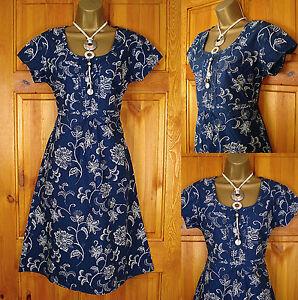 NEW-WHITE-STUFF-BLUE-IVORY-CREAM-VINTAGE-50s-STYLE-FLORAL-SUMMER-TUNIC-TEA-DRESS