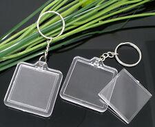 3 Pcs  Clear Acrylic Blank Keyrings / Key Ring  40mm x 40mm Tools Craft Q136