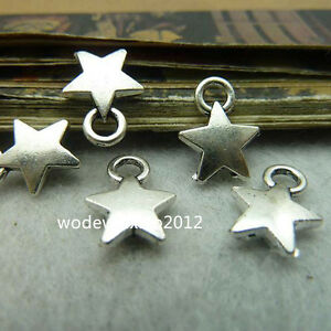 100x-Tibetan-Silver-Five-Pointed-Star-Pendant-Charms-Beads-Craft-Wholesale-PL139
