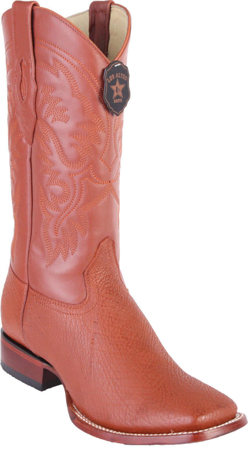 Los Altos COGNAC Genuine SHARK Western Cowboy Boot Square Square Square Toe D c20b9d